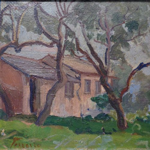 FERRARIO LINDA LINDA FERRARIO (1876 1956) Casetta rosa huile sur panneau cm.20x1…