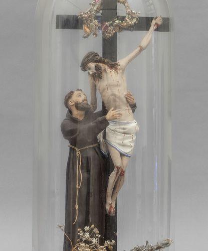 OGGETTISTICA Saint avec crucifix sculpture en terre cuite 19ème siècle dans une …