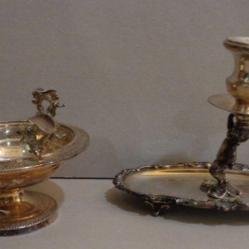 OGGETTISTICA Bugia et cendrier en argent avec petits anges gr.450
