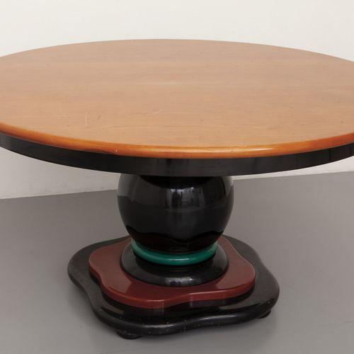 TAVOLO Table 80's en bois de frêne traité et bois laqué polyester diam.Cm.140xh.…