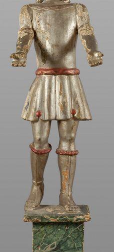 OGGETTISTICA Sculpture de serviteur en bois sculpté et argenté XVIIIe siècle h. …