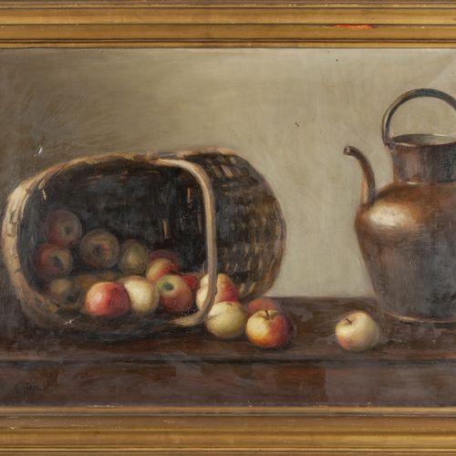 DIPINTO L.Auger 'Nature morte avec panier de pommes et cruche en cuivre' huile f…