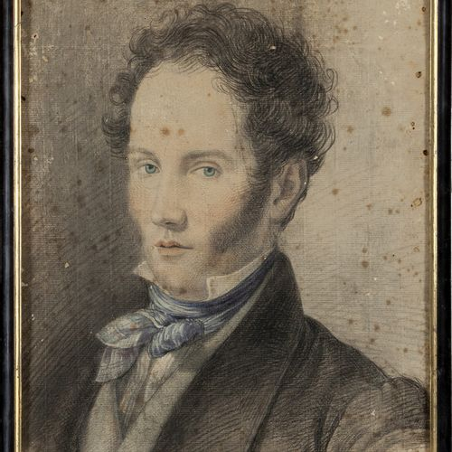 """DISEGNO Gentleman aux yeux bleus"""" dessin crayon et aquarelle début XIXème siècle…"""