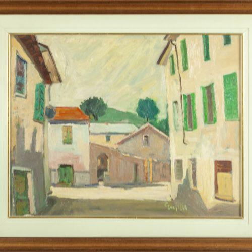 GARDELLA RICCARDO GARDELLA RICCARDO (1909 1986) Maisons huile sur carton cm.49x3…