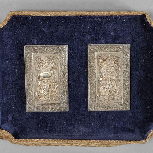 OGGETTISTICA Deux assiettes en argent et argent filigrané décorées 19ème siècle …