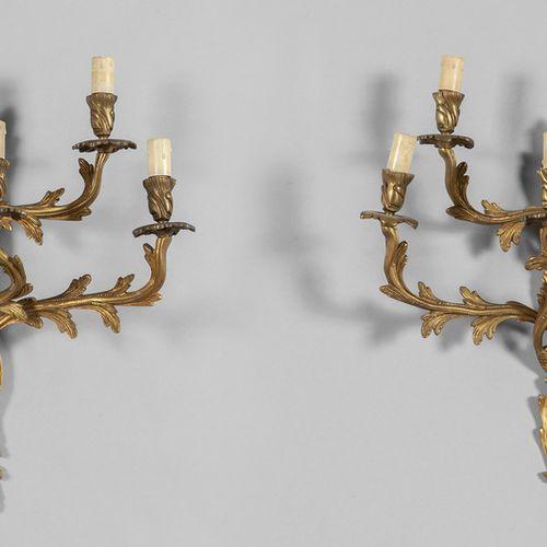 OGGETTISTICA Paire d'apliques de style Louis XV en bronze doré à 5 bras cm. 45x4…