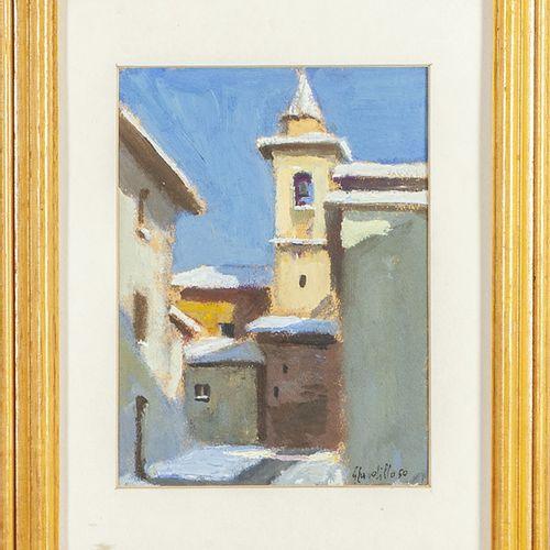 CARDILLO GIUSEPPE CARDILLO GIUSEPPE (1927 2007) Campanile huile sur carton cm.13…