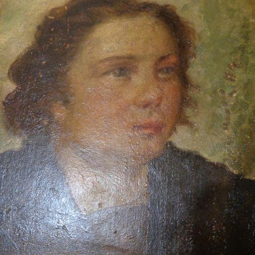 """DIPINTO Jeune roturier"""" huile sur panneau XIXème siècle cm. 16 5x22"""