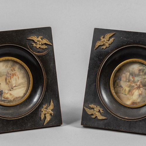 OGGETTISTICA Paire de miniatures représentant des garden parties cadres en bois …