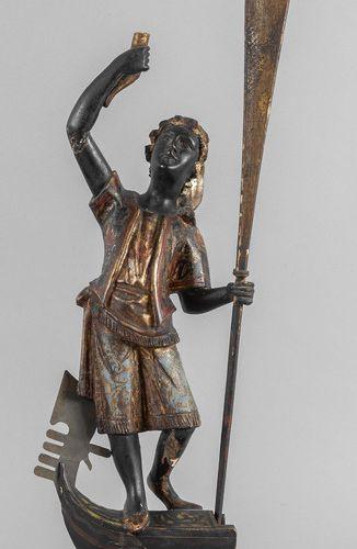 OGGETTISTICA Gondolier Moretto sculpture en bois sculpté, doré et laqué en polyc…