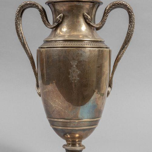 OGGETTISTICA Grand vase en argent avec anses en forme de serpent h.Cm.38 gr.1900…
