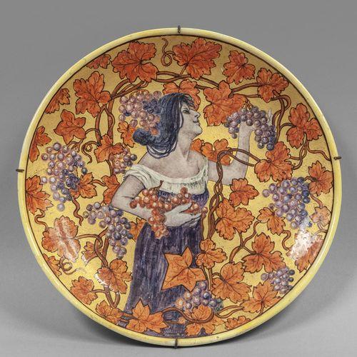 OGGETTISTICA Assiette en céramique Moissonneuse décorée en polychrome sur fond o…