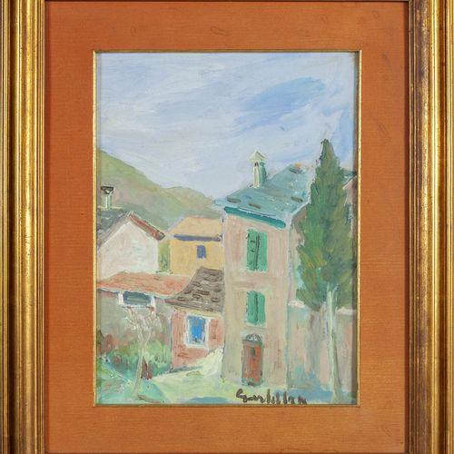 GARDELLA RICCARDO GARDELLA RICCARDO (1909 1986) Maisons huile sur carton cm.39x2…