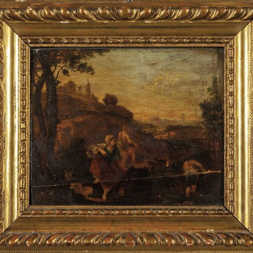 """DIPINTO École flamande XVIIe siècle (Cornelis van Poelenburgh) """"Scène de campagn…"""