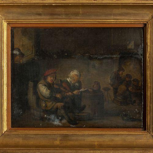 """DIPINTO École flamande XVIIIe siècle """"Intérieur d'une taverne"""" huile sur carton …"""