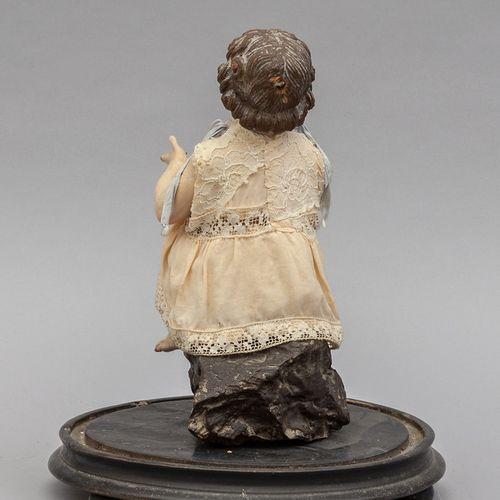 OGGETTISTICA Enfant Jésus sculpture en bois polychrome avec yeux en verre 19ème …