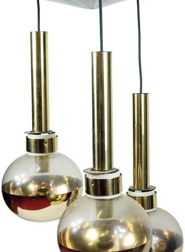Metal suspension with three light arms 'Boule', Modern Work.
