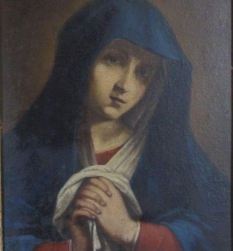 Ecole romaine du XVIIIe siècle, suiveur de SASSOFERRATO. The Virgin praying. Oil…