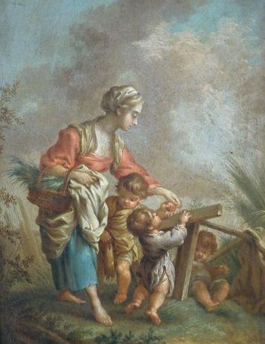 Ecole Allemande du XVIIIe siècle, suiveur de François BOUCHER. Shepherdess and h…