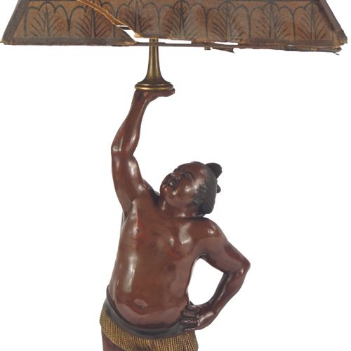 A bronze lamp with a brown patina, partially gilded, representing a Sumo wrestle…