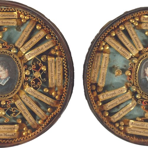 Double reliquary, the tortoise shell case, revealing two miniatures on paper in …