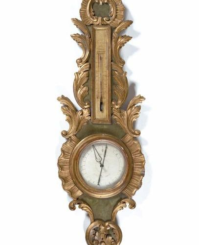 Barometer in painted and gilded wood with rockery and foliage decoration. 18th c…