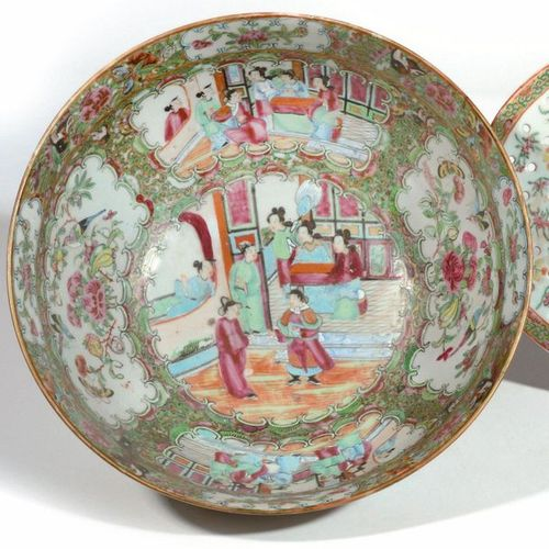 CHINA Large circular punch bowl and oval openwork porcelain drip tray decorated …