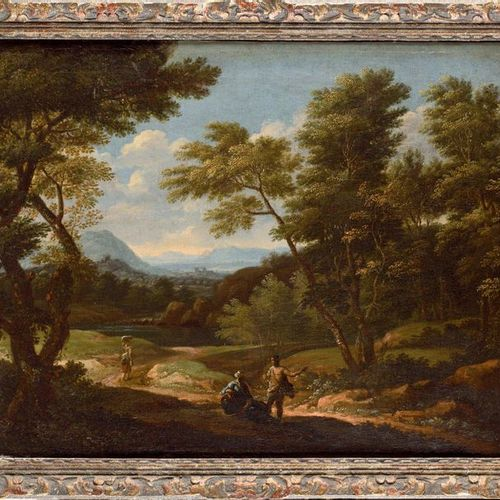 17th century FRENCH school, follower of Gaspard DUGHET Animated landscapes Pair …