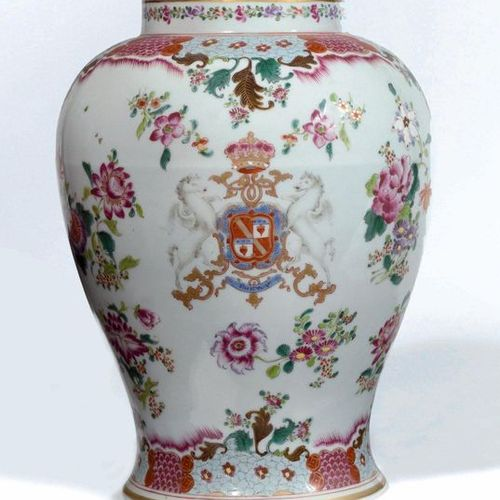 SAMSON in Paris Porcelain vase baluster decorated with flowers in the style of t…