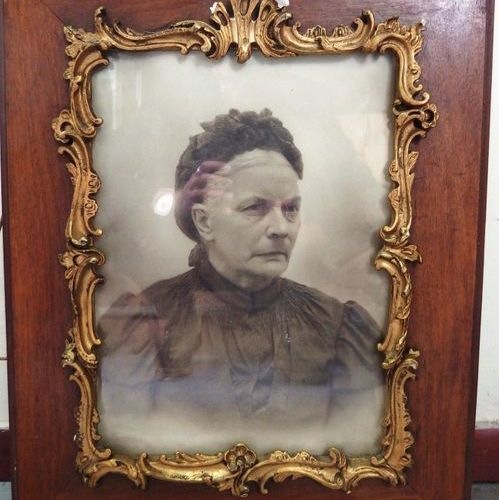 A set of 6 framed pieces:   One portrait photo of a woman   Pair of factory phot…