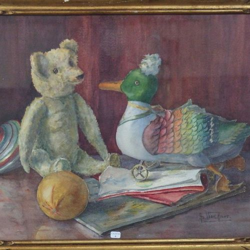 AD Very AMAT  Signed bear and duck toy scene  41 x 56 cm.
