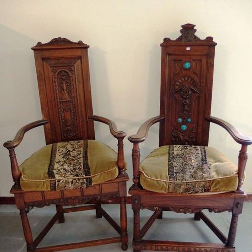 """Two armchairs known as """"caqueteuses"""" in carved wood and inlaid with ceramic prof…"""