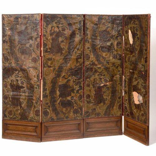 Paravent en cuir gaufré, peint et doré, à décor de scènes de chasse. Probablemen…