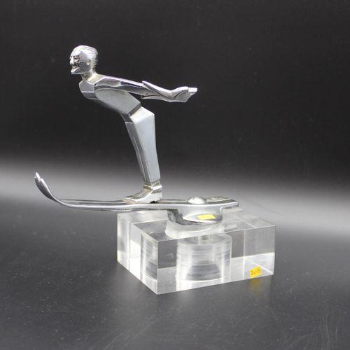 """Ski Jumping""  Mascot signed Joquo. Chrome bronze. Mounted on a base. Circa 1930…"
