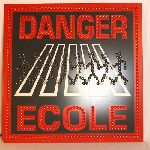 "Danger School light panel  Painted metal light panel ' Danger school"". Luminous …"