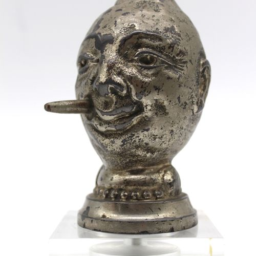 Lemon Smoker  Mascot signed by Publisher H. Briand in Paris. Composed metal. The…