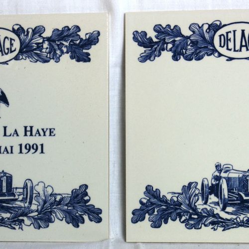 Ceramic collection Delage  Collection of 21 ceramic tiles illustrated with a veh…