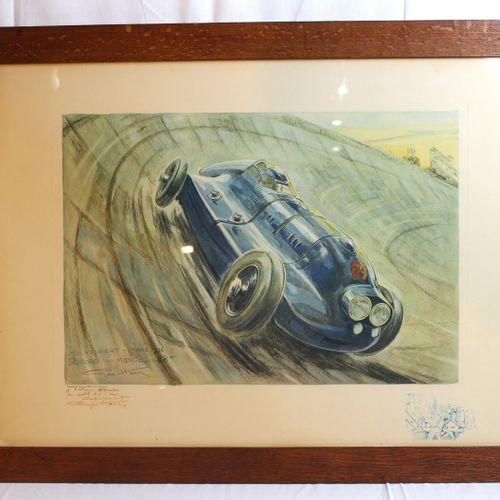 Geo HAM ( 1900 1976)  Hotchkiss, World Record 1934  Lithograph signed Géo Ham, t…