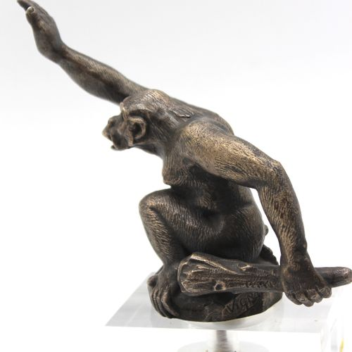The Cro Magnon Man  Mascot signed Vignal. Silver bronze. Mounted on base. H: 14 …