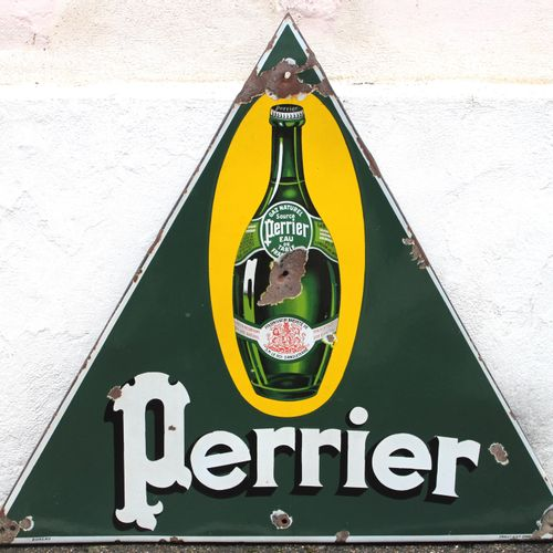 Enamelled plaque PERRIER  Single sided triangular enamelled plate of the Perrier…