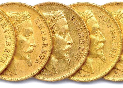 NAPOLEON III Lot of twelve gold coins 20 francs (head laurel) : 1867 Paris (3 ex…