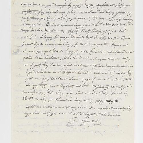 DOMMARTIN (ELZEAR AUGUSTE COUSIN DE). Autograph letter signed to his mother, Mar…