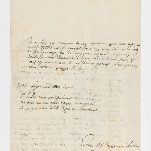 """CANOVA (ANTONIO). Autograph letter signed """"Antoine Canova"""", in French [to Count …"""