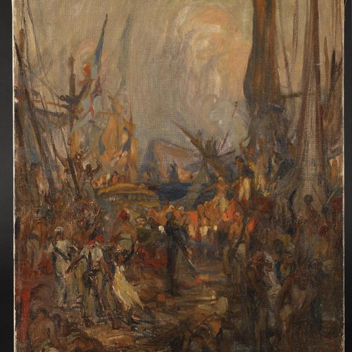 CHARLES FOUQUERAY (1869 1956) Arrival of Bonaparte in Egypt Oil on canvas Signed…