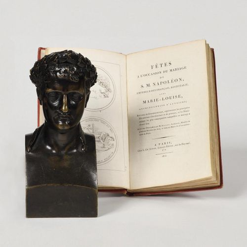 CHAUDET, AFTER. The Emperor Napoleon I in the antique style. Bust in hermes, in …