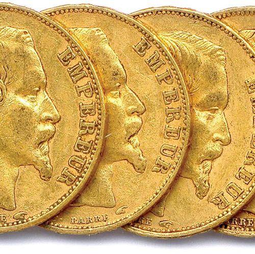 NAPOLEON III 1852 1870 Lot of nine gold coins 20 Francs (bare head) : 1852 Paris…