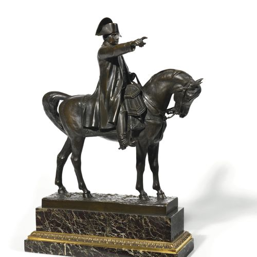 C. GUILBERT. FRENCH SCHOOL. The Emperor Napoleon I on horseback. Bronze with a b…