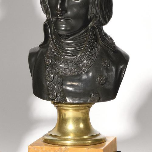 "BOIZOT, ACCORDING TO. ""The First Consul Bonaparte. Bust in bronze with dark pati…"