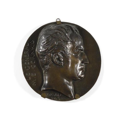 DAVID D'ANGERS General Gérard (1773 1852) in profile. Round bronze medallion in …