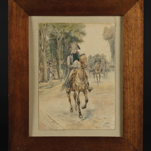 EDOUARD DETAILLE (1848 1912) The Emperor Napoleon I on horseback Drawing with pe…